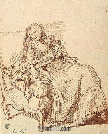 Young Woman in an Artchair, c.1765 | Jean-Baptiste Greuze | Painting Reproduction