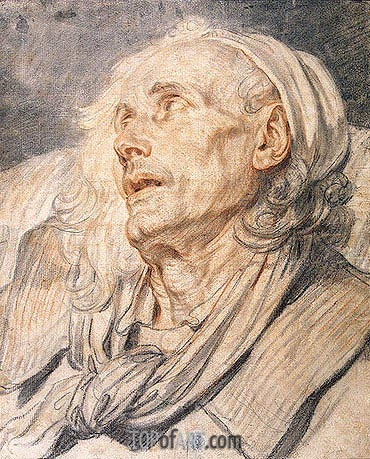 Jean-Baptiste Greuze | Study for 'The Paralytic'. Head of an Old Man, c.1760