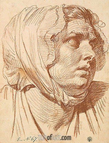 Jean-Baptiste Greuze | Head of a Woman in a Night Cap, 1772