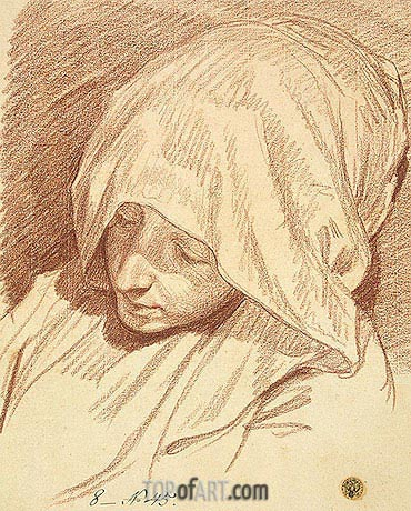Head of a Woman in a Hood, c.1760/70 | Jean-Baptiste Greuze| Painting Reproduction