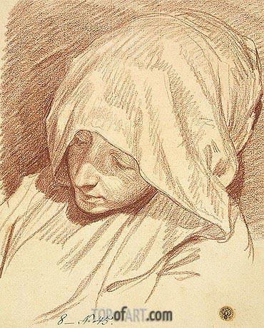 Jean-Baptiste Greuze | Head of a Woman in a Hood, c.1760/70