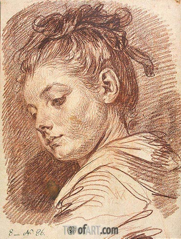 Head of a Young Woman, b.1769 | Jean-Baptiste Greuze| Painting Reproduction