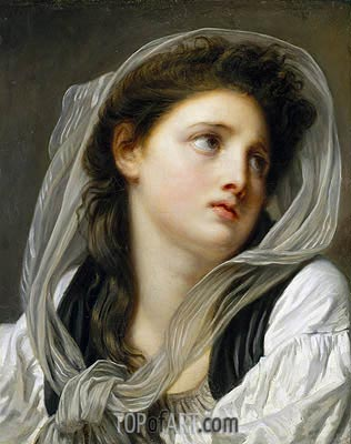 Head of a Young Woman (Contemplation), c.1775 | Jean-Baptiste Greuze| Painting Reproduction