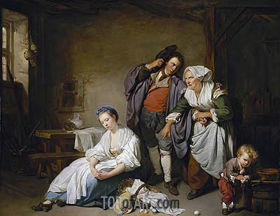 Broken Eggs, 1756 | Jean-Baptiste Greuze | Painting Reproduction