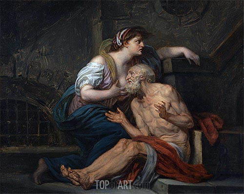 Cimon and Pero (Roman Charity), c.1767 | Jean-Baptiste Greuze| Painting Reproduction