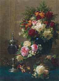 Still Life of Flowers with a Coconut Chalice on a Table, 1873 von Jean-Baptiste Robie | Gemälde-Reproduktion