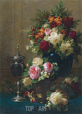 Jean-Baptiste Robie   Still Life of Flowers with a Coconut Chalice on a Table, 1873