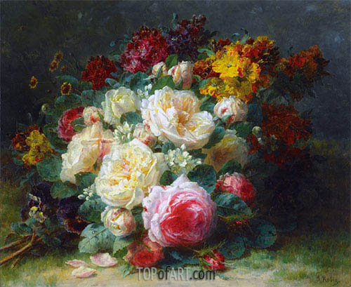 Jean-Baptiste Robie | A Bouquet of Cabbage Roses, undated