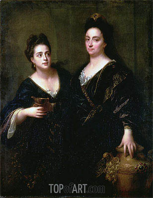 Two Actresses, 1699 | Jean-Baptiste Santerre| Painting Reproduction