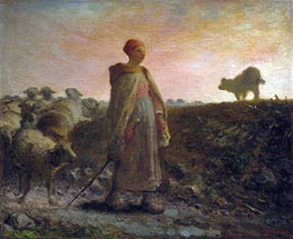 Shepherdess Returning with her Flock, Undated von Millet | Gemälde-Reproduktion