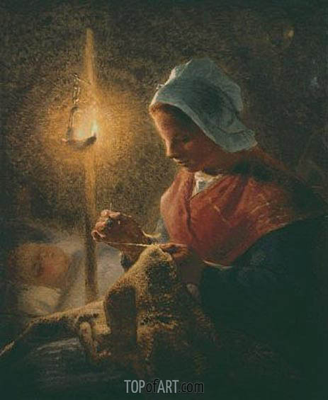 Woman Sewing by Lamplight, c.1870/72 | Millet | Gemälde Reproduktion