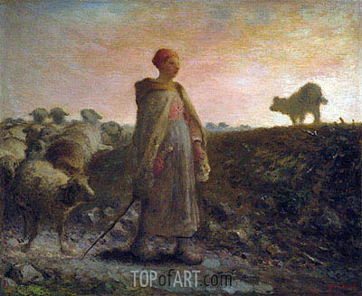Shepherdess Returning with her Flock,  | Millet | Painting Reproduction