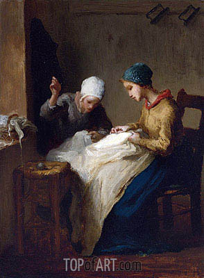 The Young Seamstresses, 1850 | Millet | Painting Reproduction