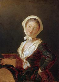 Young Girl with Marmot (Portrait of Rosalie Fragonard), c.1775 by Fragonard | Painting Reproduction