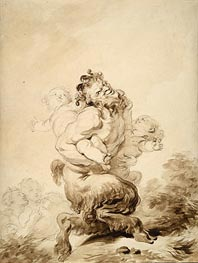 A Satyr Teased by Two Putti, c.1774/80 by Fragonard | Painting Reproduction