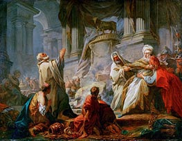 Jeroboam Sacrificing to the Golden Calf, 1752 by Fragonard | Painting Reproduction