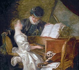 The Music Lesson, undated by Fragonard | Painting Reproduction