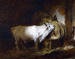 The White Bull in the Stable, undated by Fragonard | Painting Reproduction
