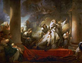 The Grand Priest Coresus Sacrifices Himself to Save Callirhoe, 1769 by Fragonard | Painting Reproduction