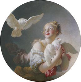 Girl Holding a Dove, undated by Fragonard | Painting Reproduction