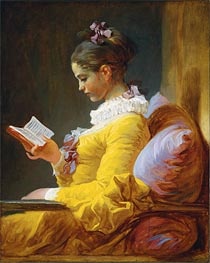 Young Girl Reading, c.1776 by Fragonard | Painting Reproduction
