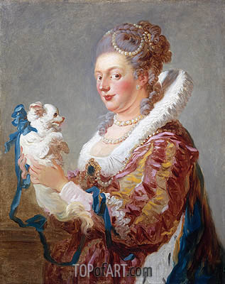 Portrait of a Woman with a Dog, c.1769 | Fragonard| Painting Reproduction