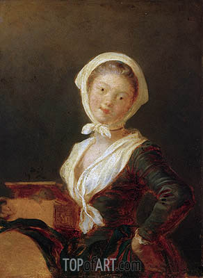 Fragonard | Young Girl with Marmot (Portrait of Rosalie Fragonard), c.1775