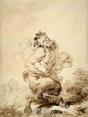 A Satyr Teased by Two Putti, c.1774/80 | Fragonard | Painting Reproduction