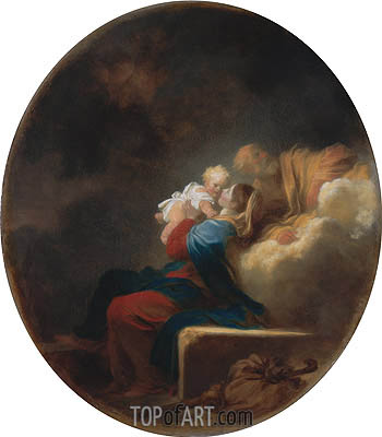 Rest on the Flight, c.1750 | Fragonard | Gemälde Reproduktion