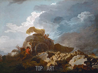 Thunderstorm (Cart Stuck in the Mud), c.1759 | Fragonard| Gemälde Reproduktion