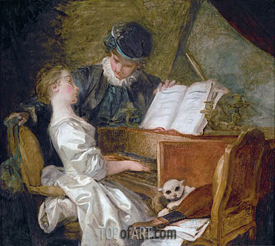 The Music Lesson, undated | Fragonard| Painting Reproduction