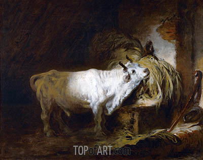 The White Bull in the Stable, undated | Fragonard| Painting Reproduction