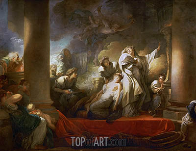 Fragonard | The Grand Priest Coresus Sacrifices Himself to Save Callirhoe, 1769