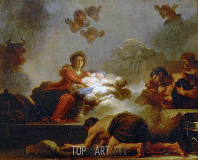 The Adoration of the Shepherds, undated | Fragonard| Gemälde Reproduktion
