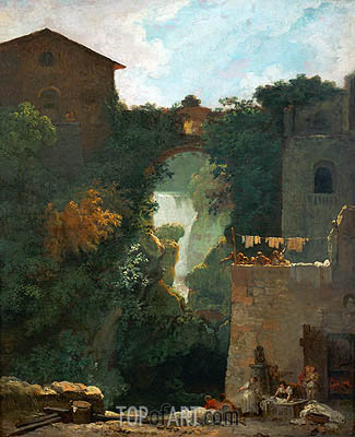 The Falls of Tivoli, undated | Fragonard | Gemälde Reproduktion