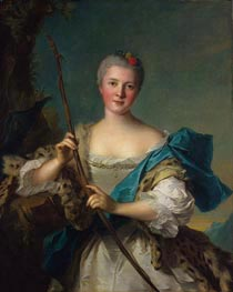 Portrait of Madame de Pompadour as Diana, 1752 by Jean-Marc Nattier | Painting Reproduction