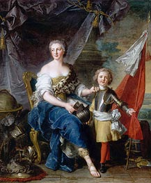 Mademoiselle de Lambesc as Minerva, Arming Her Brother the Comte de Brionne and Directing Him to the Arts of War, 1732 by Jean-Marc Nattier | Painting Reproduction