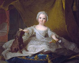 Portrait of Marie-Zephyrine of France with Her Dog | Jean-Marc Nattier | Gemälde Reproduktion