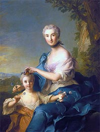 Madame Crozat de Thiers and Her Daughter, 1733 by Jean-Marc Nattier | Painting Reproduction