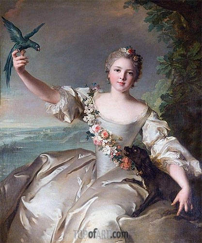 Portrait of the Marquise d'Antin, 1738 | Jean-Marc Nattier| Painting Reproduction