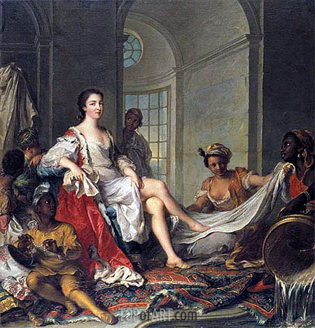 Mademoiselle de Clermont 'en Sultane', 1733 | Jean-Marc Nattier | Painting Reproduction