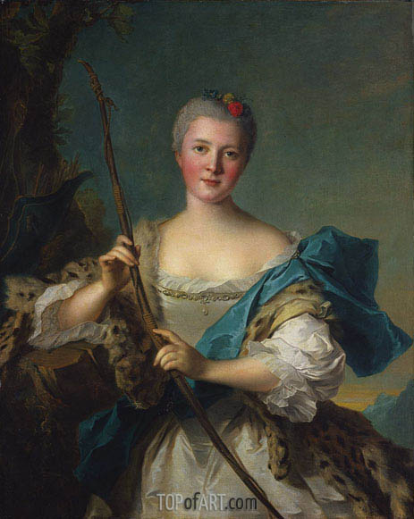 Portrait of Madame de Pompadour as Diana, 1752 | Jean-Marc Nattier| Painting Reproduction