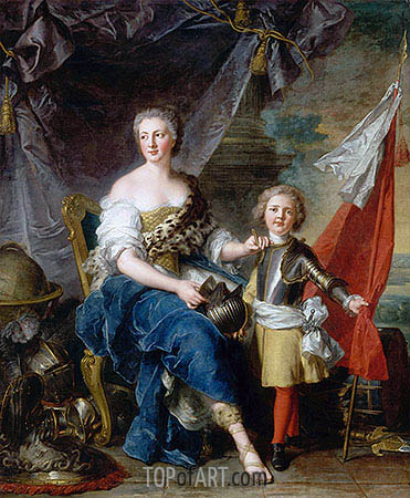 Mademoiselle de Lambesc as Minerva, Arming Her Brother the Comte de Brionne and Directing Him to the Arts of War, 1732 | Jean-Marc Nattier| Painting Reproduction