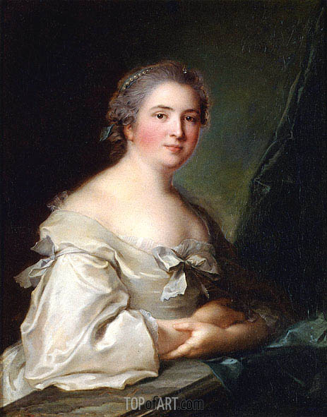 Jean-Marc Nattier | Portrait of a Lady Leaning on a Balustrade, 1754