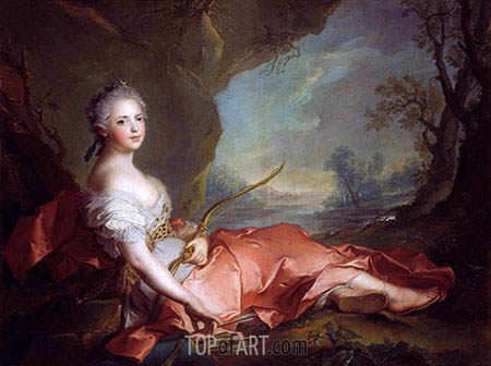 Portrait of Maria Adelaide of France dressed as Diana, daughter of Louis XV, 1745 | Jean-Marc Nattier | Painting Reproduction