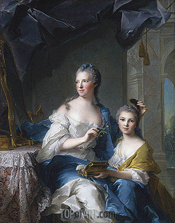 Madame Marsollier and Her Daughter, 1749 | Jean-Marc Nattier| Painting Reproduction