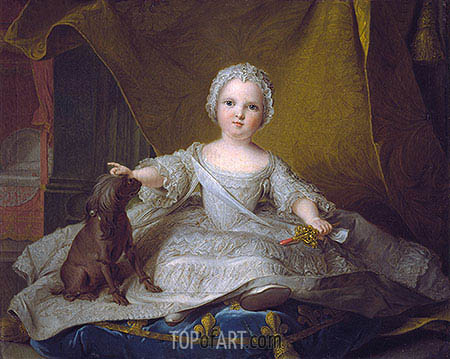 Portrait of Marie-Zephyrine of France with Her Dog, 1751 | Jean-Marc Nattier | Painting Reproduction