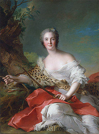 Portrait of Constance Gabrielle Magdeleine Bonnier de la Mosson as Diana, 1742 | Jean-Marc Nattier| Painting Reproduction