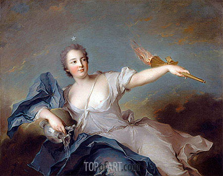Marie-Anne de Nesle, Marquise of Tournelle, Duchess of Chateauroux, 1740 | Jean-Marc Nattier| Painting Reproduction