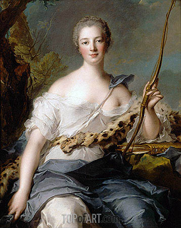 Jeanne-Antoinette Poisson, Marquise de Pompadour as Diana the Huntress, 1746 | Jean-Marc Nattier| Gemälde Reproduktion